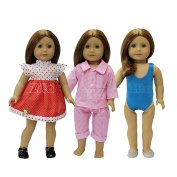 ZITA ELEMENT® Doll Clothes -Set #3 of Daily Costume, Outside dress+Pyjamas+Swimsuit Clothes fits for American's Girl Doll, My Life Doll, Our Generation and other 46cm Dolls