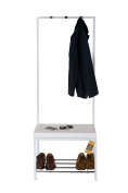 ASPECT Demi Entryway Shoe Bench with Coat Rack, Metal, White