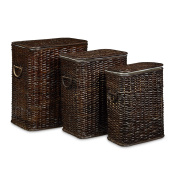 Relaxdays Set of 3 Laundry Basket Rattan Stackable Hampers, 3 Laundry Hampers with Removable Laundry Sack, Washable, 69L, Breathable Linen Chest, Chocolate-Brown