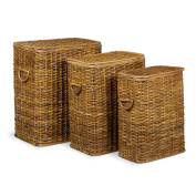 Relaxdays Set of 3 Laundry Basket Rattan Stackable Hampers, 3 Laundry Hampers with Removable Laundry Sack, Washable, 69L, Breathable Linen Chest, Honey-Brown