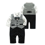 Puseky Newborn Baby Boys Gentleman Suit Bow Tie Romper Jumpsuit Outfits Clothes