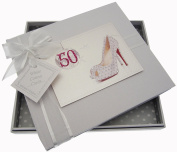 White Cotton Cards 50th Birthday Guest Book Glitter Ball and Shoes