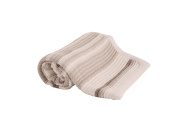Cream Knitted striped baby pram/moses blanket, Pure Cotton