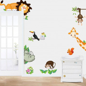 Koly® Jungle Animal Kids Baby Nursery Child Home Decor Mural Wall Sticker Decal