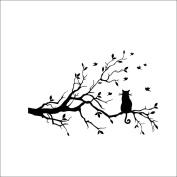 Xinantime Cat On Long Tree Branch Art Decal Kids Room Decor Wall Sticker