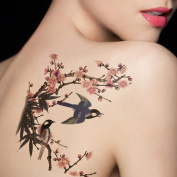 TAFLY Temporary Flower & Birds Tattoos Large Body Transfer Tattoos Stickers Lower Back for Women's 2 Sheets