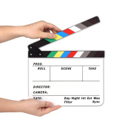 AFAITH® Professional Studio Camera Photography Video Acrylic Dry Erase Director Film Clapboard Clapperboard (25cm x 30cm ) with Colour Sticks