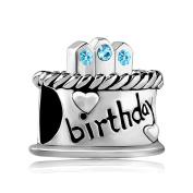 Uniqueen Happy Birthday Cake Charms with element Crystal Beads Fit Bracelet Gifts