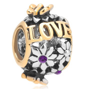 Uniqueen Jewellery Butterfly Flower Love Charms Beads with Crystal Bead Fit Bracelet