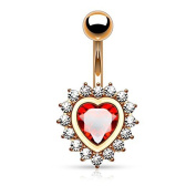 Jewelled Belly Bar Button Ring Rose Goldtone