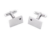 Solid Sterling Silver Rectangular Cufflinks with Real Sapphire with Gift Box