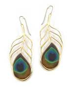 Gold Plated Sterling Silver Large Peacock Feather Drop Earrings Polymer Clay Handmade Jewellery
