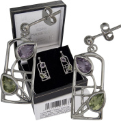 "Cairn 599 Silver Rennie . Earrings - ""Thistle"" Amethysts & Peridots. Tarnish Resistant. British Made. Rennie . Jewellery."