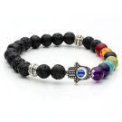 JOVIVI 7 Chakra Gemstone Bracelet Lava Stone Crystal Reiki Healing Balancing Round Beads - Hamsa hand