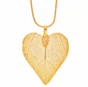 Ana Morales Women's Pendant Heart 24 K Gold Plated Leaf Approx. 45 mm