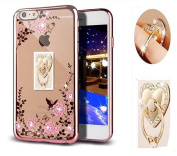 iPhone 7 Floral Crystal TPU Case--Inspirationc Soft Slim Bling Plating Rubber Cover for iPhone 7 12cm with Rhinestone Diamond and Detachable 360 Ring Stand-Rose Gold and Pink