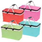 Large 35l Folding Picnic Camping Insulated Cooler Cool Hamper Basket Zip Bag Box