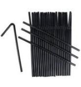 200 BLACK BENDY FLEXIBLE 19cm PLASTIC DRINKING STRAWS - INDIVIDUALLY WRAPPED