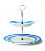 Cornishware Blue and White Stripe Stoneware 2 Tier Cake Stand