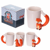 Cute Fox Shaped Handle Mug