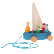 Grimm's Large Land Yacht with 4 Sailors - Wooden Pull Along Sailboat on Wheels with Peg Doll People Figures