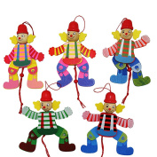1 Pcs Wooden Clown Toy Funny Pull String Puppet Creative Marionette Toy for Kid by Sdetter