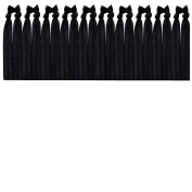 Syleia 20 Hair Ties - Black - Elastic Ponytail Holders No Crease Hand Knotted Fold Over Assorted 20 Pack