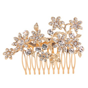 EVER FAITH Women's Austrian Crystal Lots Flowers Bridal Hair Comb Headpiece Clear Gold-Tone