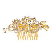 EVER FAITH Women's Austrian Crystal Art Deco Hollow-out Leaf Vine Wedding Hair Side Comb Clear Gold-Tone