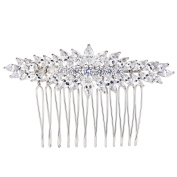 EVER FAITH Women's Cubic Zirconia December Birthstone Leaves Bridal Hair Comb Clear Silver-Tone