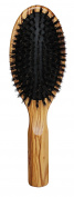 Lilywoods Olive Wood Hairbrush with Rubber Cushion and Pure Boar Bristles