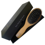 Tiare Beaute Boar Bristle Hair Brush With Easy To Hold Handle. Best To Promote Healthy, Shiny and Naturally Conditioned Hair