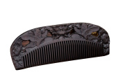 Icegrey Handmade Carved Butterfly Flower Black Sandalwood Wooden Comb Hair Brush