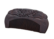Icegrey Natural Handmade Lotus Engraving Black Sandalwood Hair Comb Beard Brush