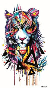 Latest new design and hot selling realistic tattoo stickers Colourful tiger head realistic tattoo stickers