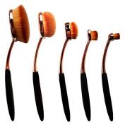 Foundation Makeup Brush ,Oval Toothbrush Concealer Powder Brush Set Rose Gold and Black