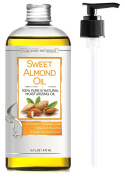 Sweet Almond Oil, Triple AAA+ Grade Quality, For Hair, For Skin and For Face, 100% Pure and Organic from Spain, Cold Pressed , 470ml by Pure Body Naturals