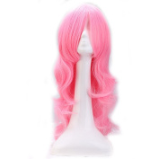 Sexy Troll Pink Anime Cosplay Costume Wig Big Wave Curly Hair with Oblique Fringe Wavy Wigs Multicolor for Women Men Kids 32'' Long Loose Layered Fibre Adjustable Cap