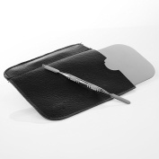 Mingyan Stainless Steel Cosmetic Palette Mini Pallete Makeup Spatula Tool with PU Leather Pouch