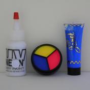 Sinister Harlequin Make Up Set for Halloween w/ UV Neon 3 Colour Cream Palette, Body Paint, & Hair Gel, Black Light, Rave, Party