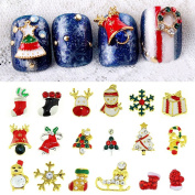 Blueness Mix 28pcs 3D Chrismas Nail Art Alloy Crystal Rhinestone Decorations BNP003