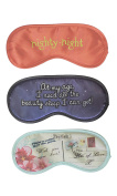 Diny Home & Style Set of 3 Poly Satin Printed Sleep Eye Mask Travel