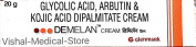 Demelan Cream (Glycolic Acid/Arbutin/Kojic Acid Dipalmitate)- 20g - Hyperpigmentation Cream for Dark Spots on Face and Body