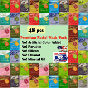{Entel} 48 pcs combo-pack, Premium Korean Essence Facial Mask Sheet (12 Types x 5 pcs), 5 Chemical Free : No Paraben, No Silicon, No Mineral Oil, No Artificial Colours,No Ethanol