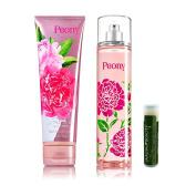 Bath & Body Works Peony Ultra Shea Body Cream 8 oz/226g & Fine Fragrance Mist 8 fl.oz/236 mL with a Jarosa Bee Organic Peppermint Lip Balm