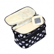 Top McKinley Cosmetic Bag Double Layer Dot Pattern Travel Toiletry Bag Organiser with Mirror
