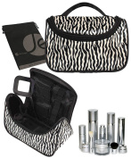 JAVOedge Black and White Zebra Strips Cosmetic Zipper Bag with Carrying Handle