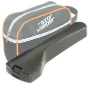 RazorKeeper Super Deluxe Razor Travel Case with Zip Toiletry Bag | fits Schick Hydro 5 - Fusion Proglide - Flexball - Mach 3