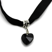 Top McKinley Lady Girls Velvet Choker Necklace Retro Love Heart Crystal Pendant