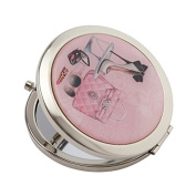 """Compact Mirror Silver Plated """"Glamour Girl"""" Chic Designed Cover With Magnification Mirror"""